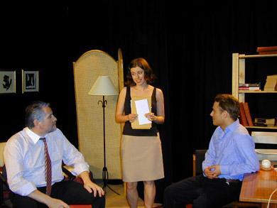 Pepe Roche (Howard Siegel), Lesley Conroy (Harriet) and Alan Walsh (Mercer Stevens)